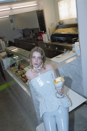 Cream corset and fries